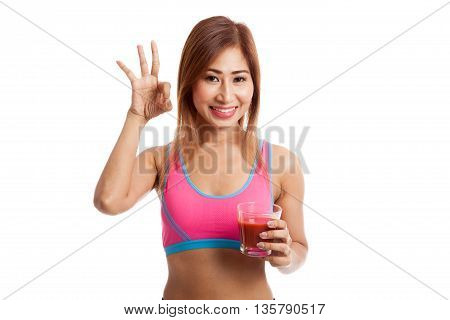 Beautiful Healthy Asian Girl Show Ok With Tomato Juice