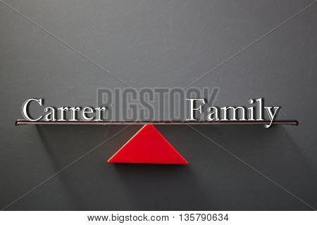 balance concept, words career and family on blackboard