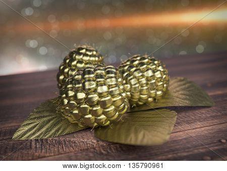 Golden Raspberry on wooden desk - 3D render