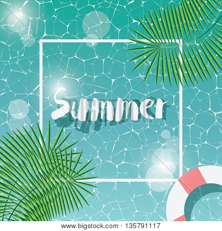 Swimming pool top view typographic hello summer message summer time holiday vacation vector illustration