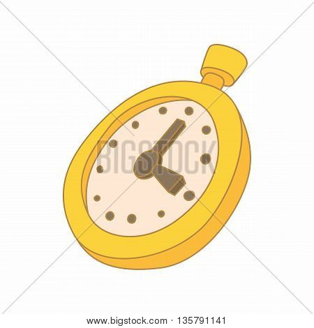 Stopwatch icon in cartoon style isolated on white background. Time and result symbol