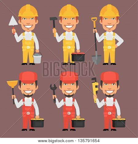 Vector Illustration, Builder and Repairman Holds Tools, Format EPS 8
