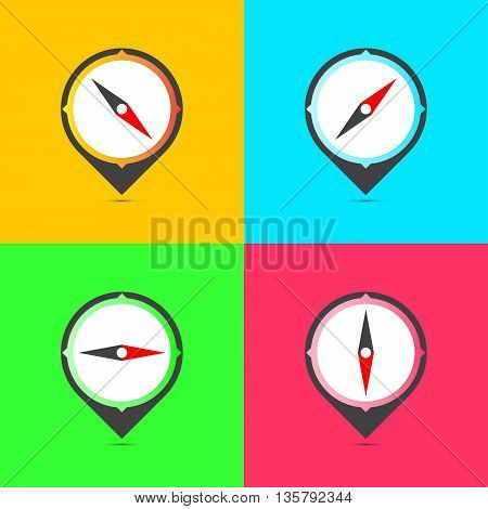 Color compasses flat icons set. Vector illustration.