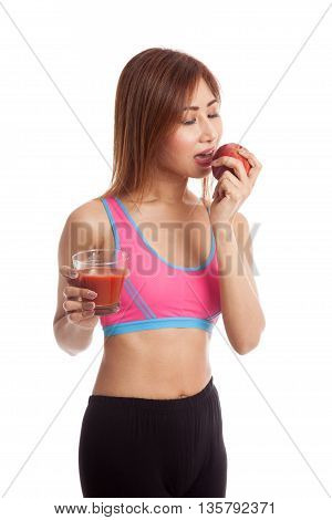 Beautiful Healthy Asian Girl With Tomato Juice And Apple
