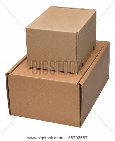Two cardboard boxes. Isolated on the white background no shadow.