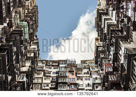 Hong Kong Slums Residential Old Town Asian Architecture
