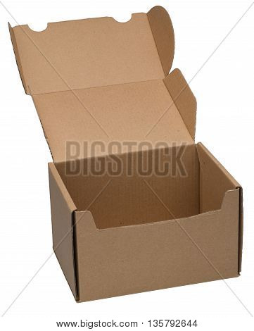 Open cardboard box. Isolated on the white background no shadow.
