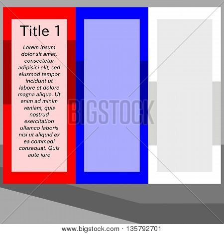 Simple stylized flat red blue white info graphic template of vertically stripes with long shadow