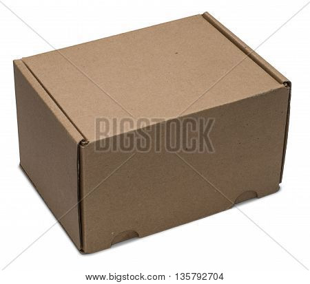 Cardboard box upside. Isolated on the white background with shadow.