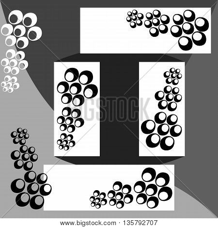 Abstract black white gray pattern composed of bubbles design elements