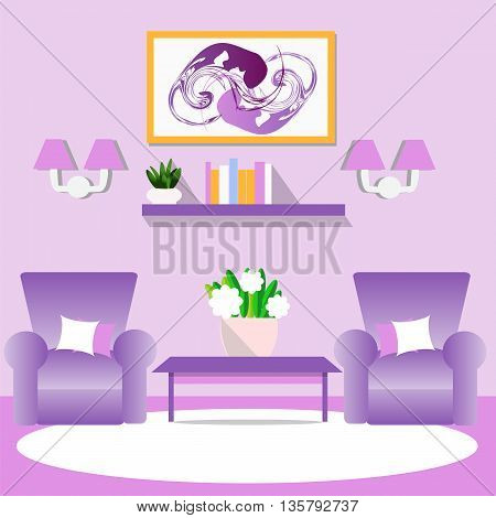 Living room interior vector illustration. Furniture for the home. Flat style