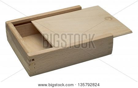 Small raw wooden box for small items. Isolated on the white background no shadow.