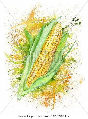 Creative bright print with maize and yellow blob burst on white background