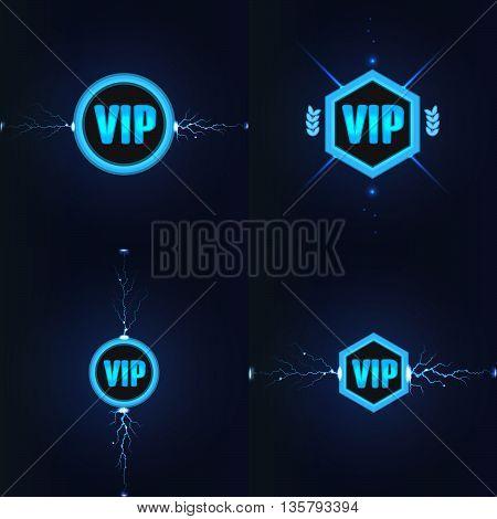 VIP club label set. Stock vector. Vector illustration.