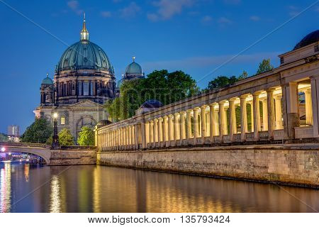 The Dom and the island of museums in Berlin at night