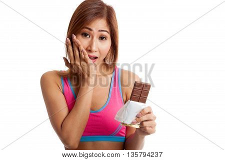 Beautiful  Healthy Asian Girl Veary Happy With Chocolate