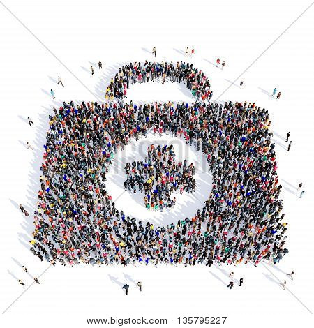 Large and creative group of people gathered together in the shape of a first aid kit, medicine, image. 3D illustration, isolated against a white background.