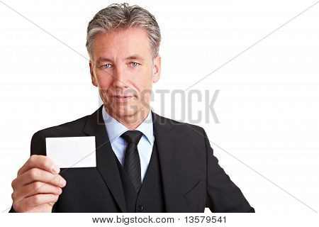 Manager Holding Empty Business Card