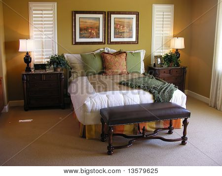 A luxurious bedroom interior inside a residential home
