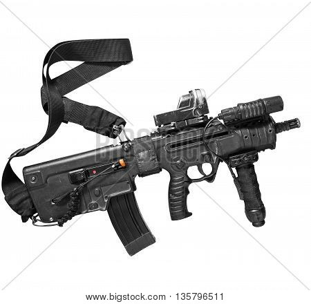 Israeli assault rifle Tavor on the white