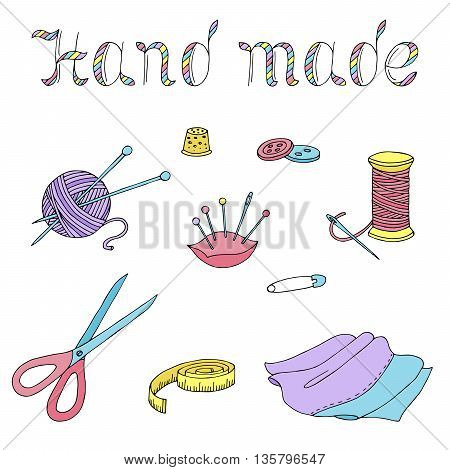 Hand made sewing graphic art color isolated set illustration vector