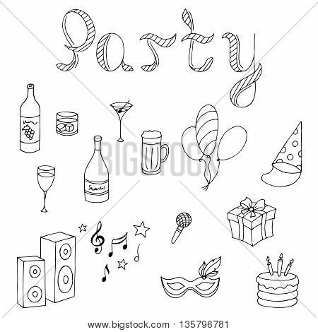Party graphic set black white isolated illustration vector
