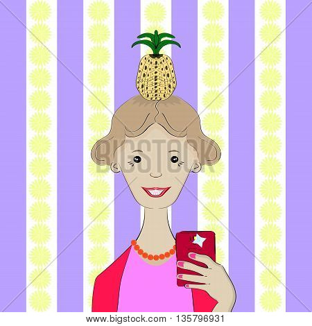 Selfie. The girl is photographed with the pineapple on his head