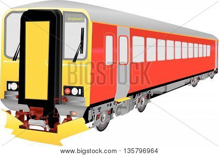 A Red Commuter Diesel Train isolated on white