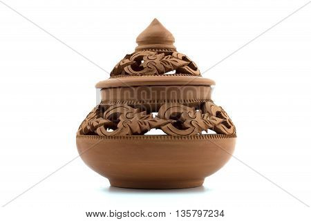Art of Thailand earthenware White background isolate