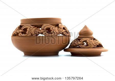 Thai Art Pottery (earthenware ) on the white background.
