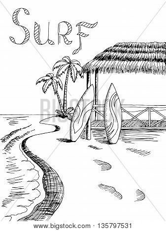 Surf board sea graphic art black white landscape illustration vector