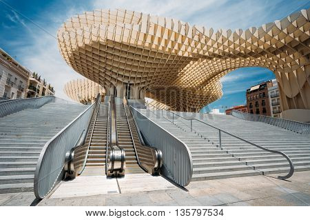Seville, Spain - June 24, 2015: Metropol Parasol is a wooden structure located Plaza de la Encarnacion square, in old quarter of Seville, Spain