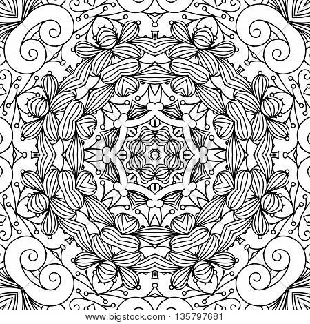 Beautiful background composed of geometric designs on white with floral patterns and other intricate elements