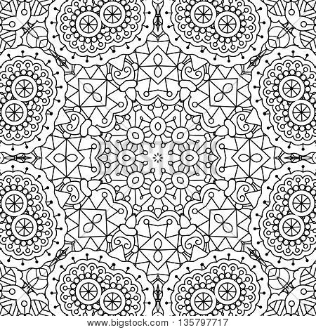 Pretty intricate full frame background on white composed of geometric patterns and beautiful symmetrical elements