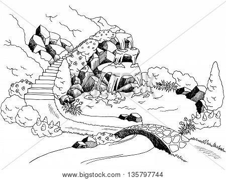 Park waterfall river graphic art black white landscape illustration vector