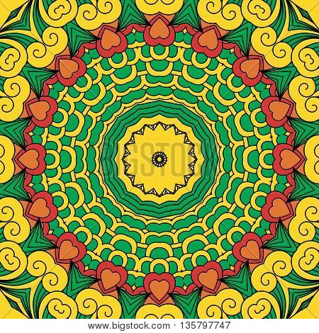 Beautiful full frame yellow and green geometric design in a circular pattern with row of hearts