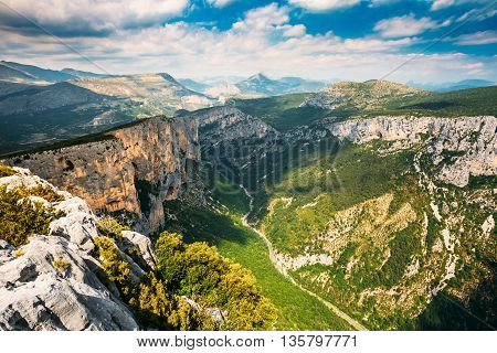 Beautiful Mountains Landscape Of The Gorges Du Verdon In South-eastern France. Provence-alpes-cote D'azur.
