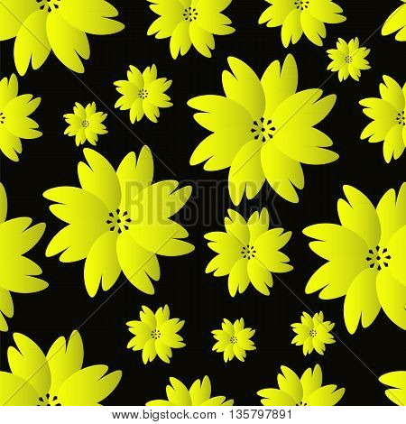 seamless pattern of yellow flowers on black background vector illustration