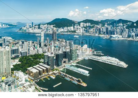 Hong Kong View from High Harbour with Ferries