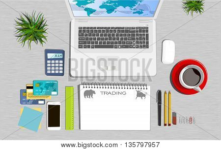 Workspace concept. Flat illustration. Business office. Trading