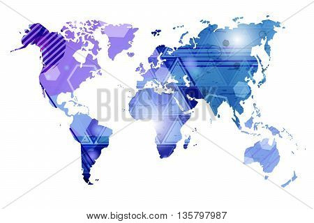 World map. Abstract vector map. Business background
