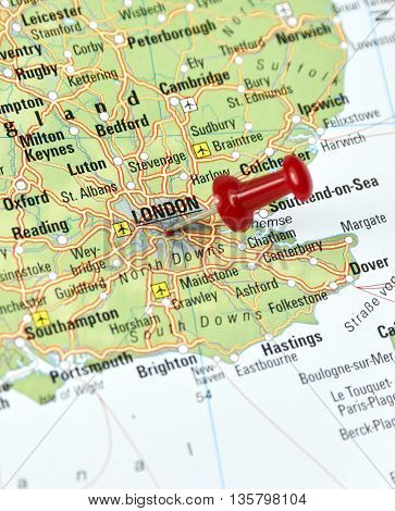 Map with pin set on London, Great Britain.