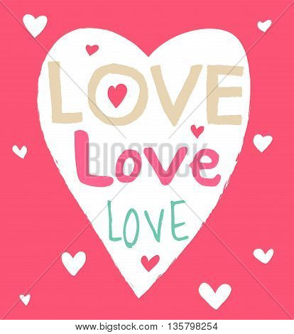 Heart shape on pink background with handdrawn word Love