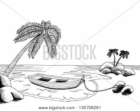 Sea boat graphic art black white landscape illustration vector