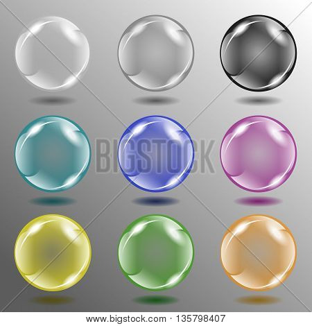 Illustration. Eight different colors of glass balls on the abstract background