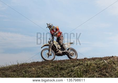 athlete rider on top of a mountain on helmet camera