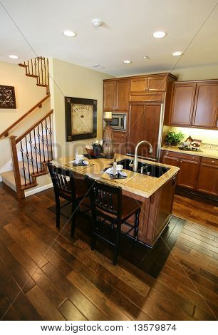 A beautiful kitchen interior in an upscale home
