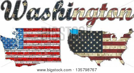USA state of Washington on a brick wall - Illustration, Font with the United States flag,  Washington map on a brick wall