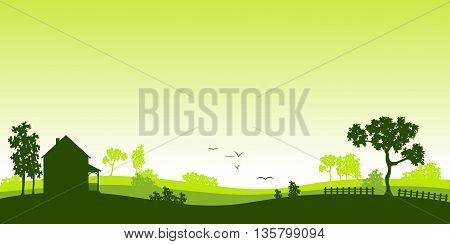 green landscape with some trees and birds