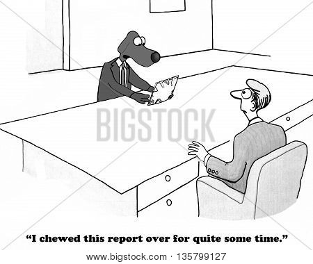 Business cartoon about thinking too long before writing a report.